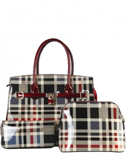 3 in 1 Plaid Design Patent Leather Medium Satchel with padlock deco plus  Matching Wallet GZ7300 RED