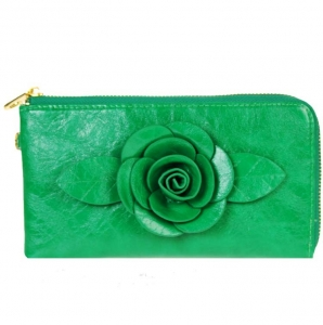 Designer Inspired Faux Leather Wallet w/ Flower Center Accent