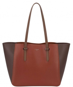 David Jones - Women's Large Shopper Bag - Tote Satchel Briefcase PU Leather CM3941 CAMEL