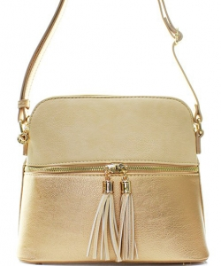 PU Leather Medium Crossbody Shoulder Bag Fashion Purse Large  Tassel LP051 BIEGE/GOLD