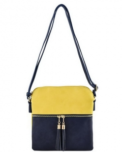 PU Leather Medium Crossbody Shoulder Bag Fashion Purse Large  Tassel LP056 YELLOW/NAVY