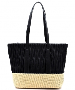 Woven Straw Mixed-Material Quilted Large Tote QS3213 BLACK/TAN