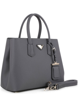 Triangular Logo Structured Saffiano Satchel OCK510617-1  CGRAY