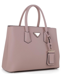 Triangular Logo Structured Saffiano Satchel OCK510617-1  DPINK