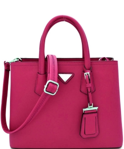Triangular Logo Structured Saffiano Satchel OCK510617-1  FUSCHIA
