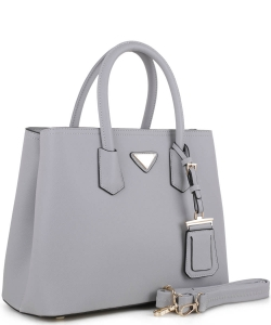 Triangular Logo Structured Saffiano Satchel OCK510617-1  GRAY