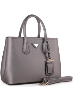 Triangular Logo Structured Saffiano Satchel OCK510617-1  LBRONZE