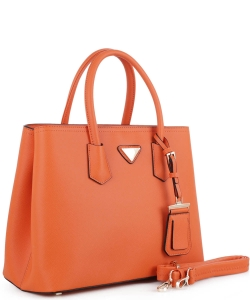 Triangular Logo Structured Saffiano Satchel OCK510617-1  ORANGE