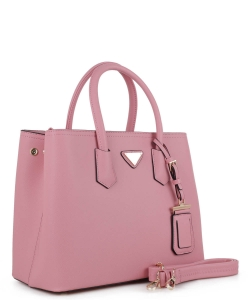Triangular Logo Structured Saffiano Satchel OCK510617-1  PINK