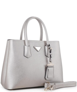 Triangular Logo Structured Saffiano Satchel OCK510617-1  SILVER