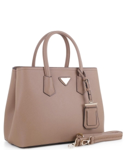 Triangular Logo Structured Saffiano Satchel OCK510617-1  STONE