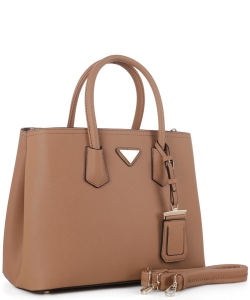 Triangular Logo Structured Saffiano Satchel OCK510617-1  TAN