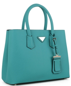 Triangular Logo Structured Saffiano Satchel OCK510617-1  TEAL