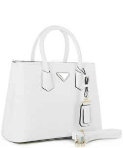 Triangular Logo Structured Saffiano Satchel OCK510617-1  WHITE