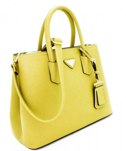 Triangular Logo Structured Saffiano Satchel OCK510617-1  YELLOW