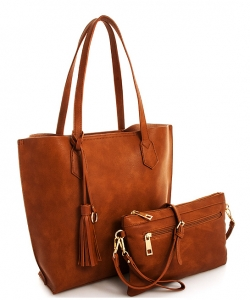 Tassel Accent 2 in 1 Tall Tote Set QS1627 DTAN