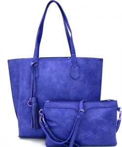 Tassel Accent 2 in 1 Tall Tote Set QS1627 RBLUE