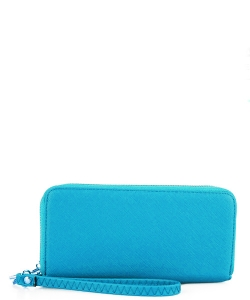 Simple Double Zip-Around Wallet OCK-W0095 AQUA