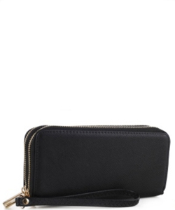 Simple Double Zip-Around Wallet OCK-W0095 BLACK