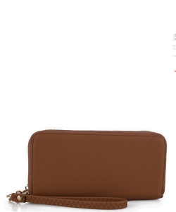 Simple Double Zip-Around Wallet OCK-W0095 COFFEE