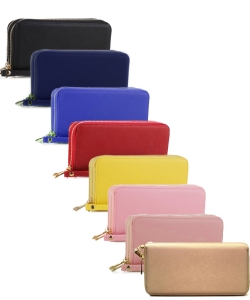 12 pcs Simple Double Zip-Around Wallet OCK-W0095