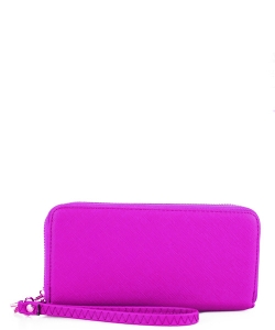 Simple Double Zip-Around Wallet OCK-W0095 FUSHIA