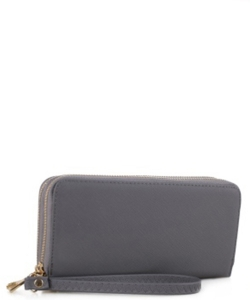 Simple Double Zip-Around Wallet OCK-W0095 GRAY
