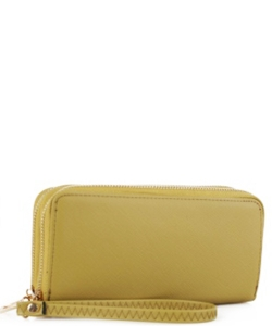 Simple Double Zip-Around Wallet OCK-W0095 LGOLD