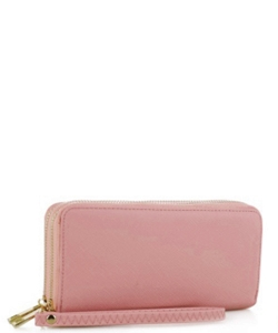 Simple Double Zip-Around Wallet OCK-W0095 MAUVE