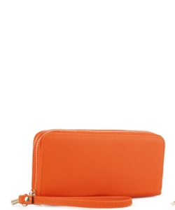 Simple Double Zip-Around Wallet OCK-W0095 ORANGE