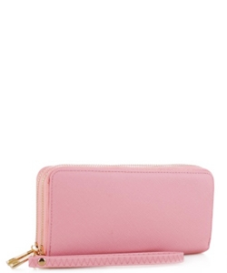 Simple Double Zip-Around Wallet OCK-W0095 PINK