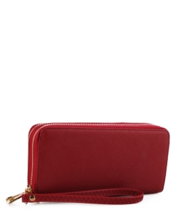 Simple Double Zip-Around Wallet OCK-W0095 RED1