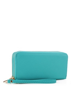 Simple Double Zip-Around Wallet OCK-W0095 TEAL