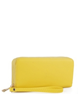Simple Double Zip-Around Wallet OCK-W0095 YELLOW