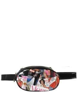 Fashion Faux Leather Magazine Fanny Pack OB7004 BLACK