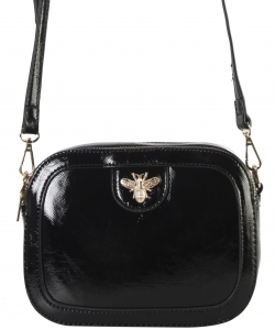 Fashion Glossy Stitch Cross body Bag MP7255 BLACK