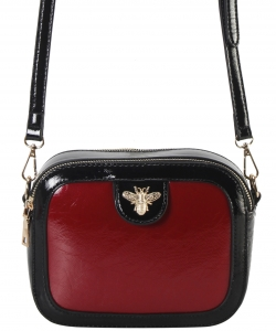 Fashion Glossy Stitch Cross body Bag MP7255 RED
