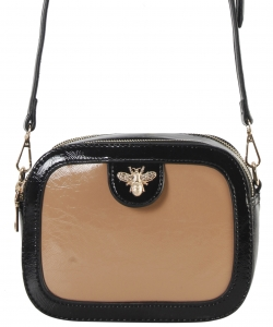 Fashion Glossy Stitch Cross body Bag MP7255 TAUPE