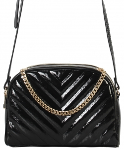 Cute Chevron Stitched Crossbody Bag  BR7099 BLACK