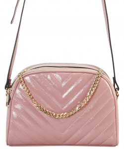 Cute Chevron Stitched Crossbody Bag  BR7099 BLUSH