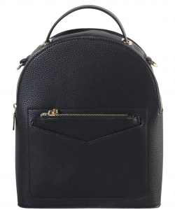 Hardware Accent Fashion Backpack LI7313 BLACK