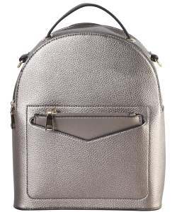Hardware Accent Fashion Backpack LI7313 PEWTER