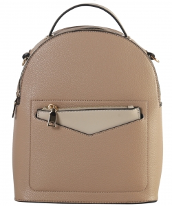 Hardware Accent Fashion Backpack LI7313 TAUPE