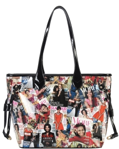 2 IN1 Stylish Magazine Tote Handbag Design With Clutch OB6993 BLACK