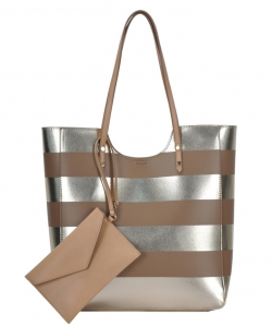 Tote Bag ZLYC Women Beach Bag Stripe Shoulder Bag Large Hand Bag Casual Shopper Bag BGW81960 NUDE/GOLD