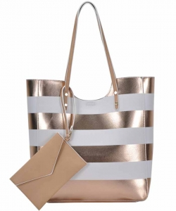 Tote Bag ZLYC Women Beach Bag Stripe Shoulder Bag Large Hand Bag Casual Shopper Bag BGW81960 WHITE/RGOLD