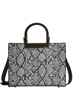 Women's Snakeskin Embossed Patent Leather Purse Top Handle Bag On Promotion BGT81823 BLACK