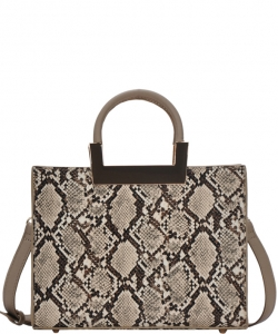 Women's Snakeskin Embossed Patent Leather Purse Top Handle Bag On Promotion BGT81823 TAUPE