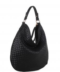 Woven Handbags Fashionable Simple Handbag Ladies Shoulder Bag FC19218 BLACK