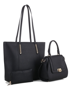 Tassel Accent 3 in 1 Tall Tote Set FC19184 BLACK